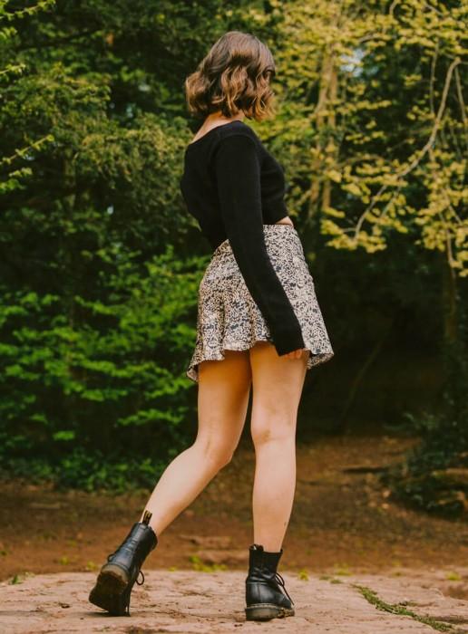 The TANSY petite satin mini skirt