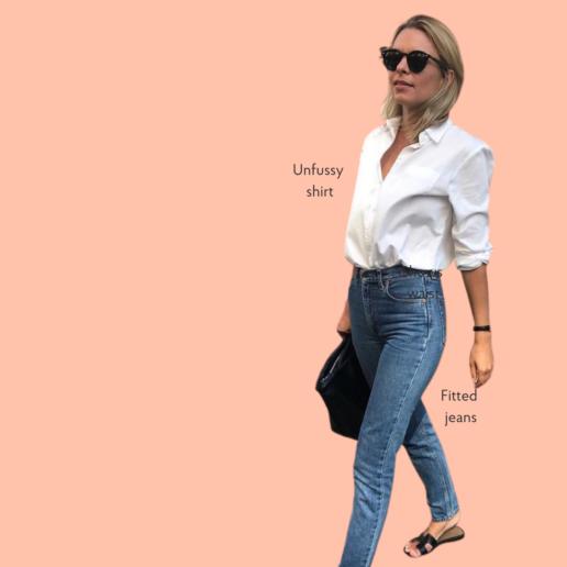 oversized shirt jeans petite women